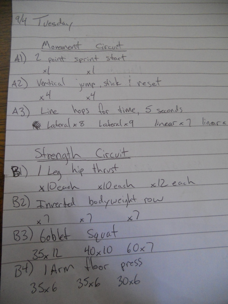 Lifting Journal Example